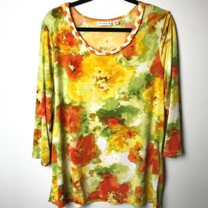 Susan Graver Liquid Knit Floral Stretch top XL